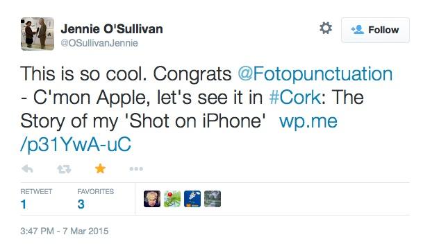 Tweet from Jennie O Sullivan